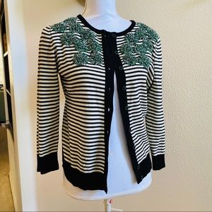 TABITHA stripe floral embroidered cardigan sweater